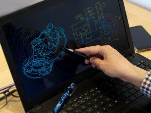 Computer screen with mechanical piece design